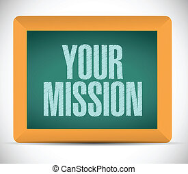 your mission message on a board illustration