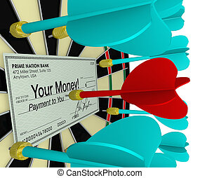 Your Money Check on Dart Board