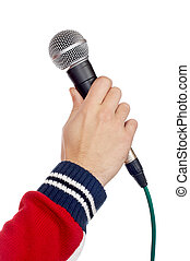 Your oppinion, please - Hand holding a microphone over a ...