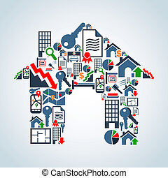 Your own house property service - Real estate icon set in ...