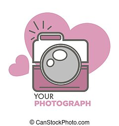 Your photograph old school photo camera with hearts