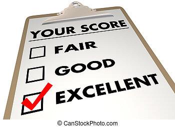 Your Score Grade Review Evaluation Checklist 3d Illustration