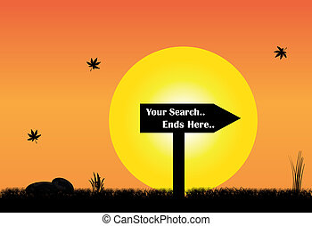 your search ends here sign board silhouette evening yellow sun. sign board silhouette with text in front of big yellow sun and orange morning sky and maple leaves falling - concept illustration