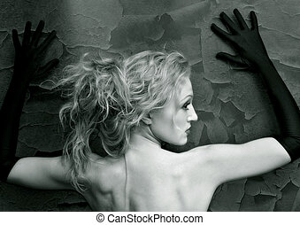Your shores - Portrait of the woman in the gloves, looking...