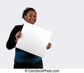 Your Text Here - A young woman holding a blank sign.