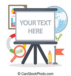 Your text here. Empty text place on white board with ...