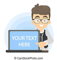 Your text here. Man with speech bubble.