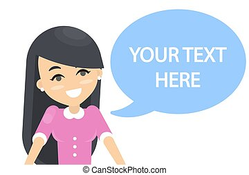 Your text here. Woman with speech bubble.