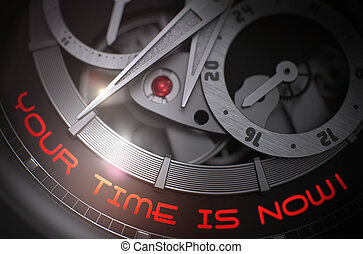 Your Time Is Now on Automatic Men Wrist Watch Mechanism. 3D....