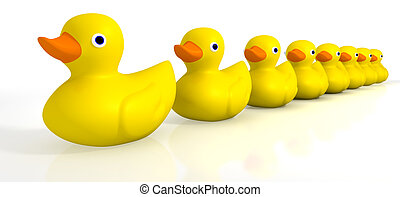 A row of organised and ready yellow rubber bath duck toys on an isolated background
