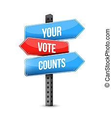Your vote counts multiple destination color street sign