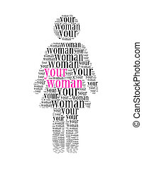 your woman text collage Composed in the shape of woman an isolated on white