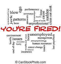 You're Fired Word Cloud Concept in Red Caps