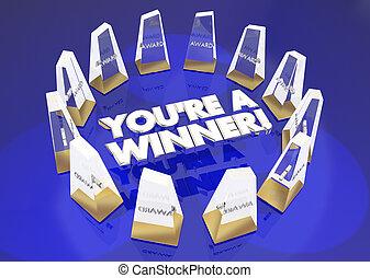 youre, gagnant, illustration, appréciation, récompenses, reconnaissance, 3d