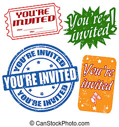 Set of grunge office rubber stamps with text you're invited, vector illustration