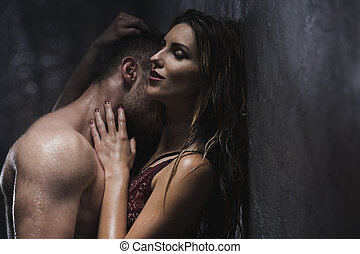 You're only mine - Shot of a sensual couple taking a shower...