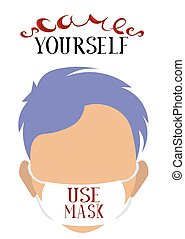 yourself., preventivo, prendere, brochure., measures., coronavirus., cartolina, blu, hair., mask., persona, cura, uso, informazioni