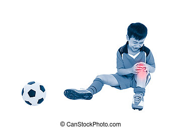 Youth asian soccer player with pain at knee. Full body. -...