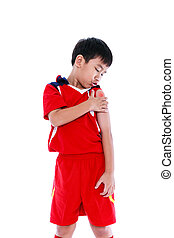 Youth asian soccer player with pain at  shoulder.