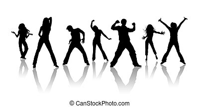 Youth - Black silhouettes, youth on a white background