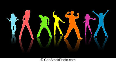 Colour silhouettes, youth on a black background