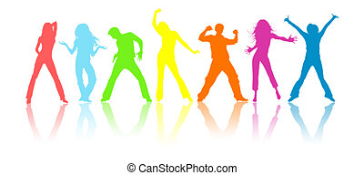 Youth - Colour silhouettes, youth on a white background