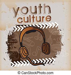youth culture over vintage  background vector illustration