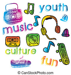 youth culture design over white background vector...