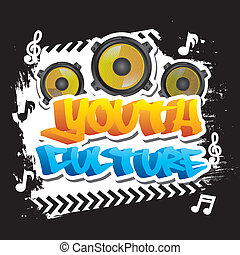 youth culture over black background vector illustration