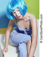 Youth. Cute Asian Girl with Blue Artificial Dyed Hairs ...
