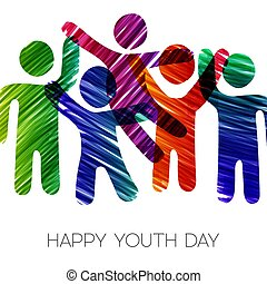 Youth Day card of colorful diverse teen group