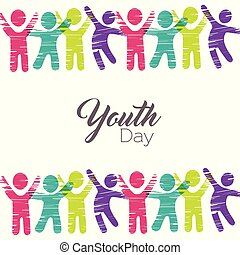 Youth Day card of diverse people in colorful art