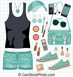 Youth fashionable set - Vector illustration. It is created ...
