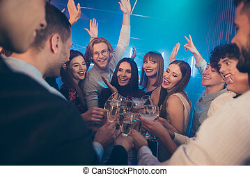 Youth having fun concept. Closeup photo of cheerful crazy excited beautiful handsome guys ladies enjoy happiness spending vacation with fellows holding wine glasses in hands