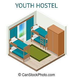 Youth hostel building facade, backpack, double decker bunk bed, room key Travel and tourism business themed items. Isometric hostel room
