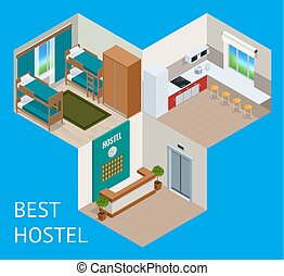 Youth hostel building facade, backpack, double decker bunk bed, room key Travel and tourism business themed items