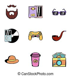 Youth icons set, cartoon style - Youth icons set. Cartoon...