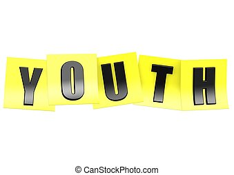 Youth in yellow note - Rendered artwork with white...