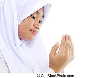 Youth Muslim prayer - Close up Southeast Asian youth Muslim...