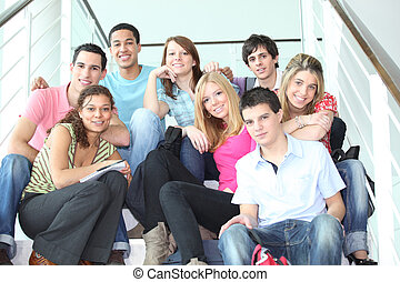 youth, på, trappa