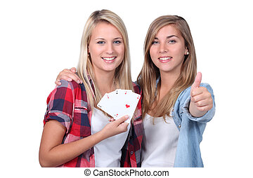 youth playing card game