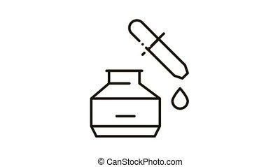 youth serum Icon Animation. black youth serum animated icon on white background