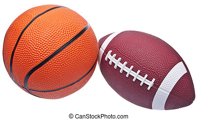 Youth Sized Football and Basketball Isolated on White with a Clipping Path.