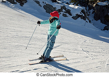 Youth skier on the piste