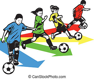 Youth Soccer Drill - Boys and girls practicing a sports ...