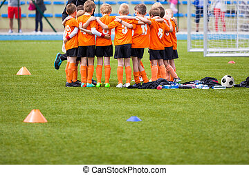 Youth soccer football team. Group photo. Soccer players...