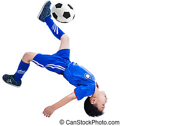 Youth soccer player kicking the ball