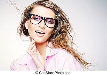 youth style glasses - Close-up portrait of a gorgeous young...