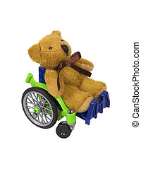 Youth wheelchair shown by a teddybear in a wheelchair used for assistance in personal transportation when ambulatory methods are unavailable - path included
