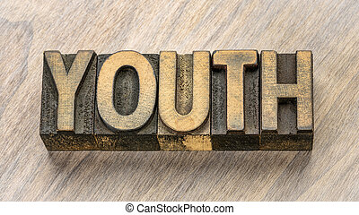 youth word abstract in wood type